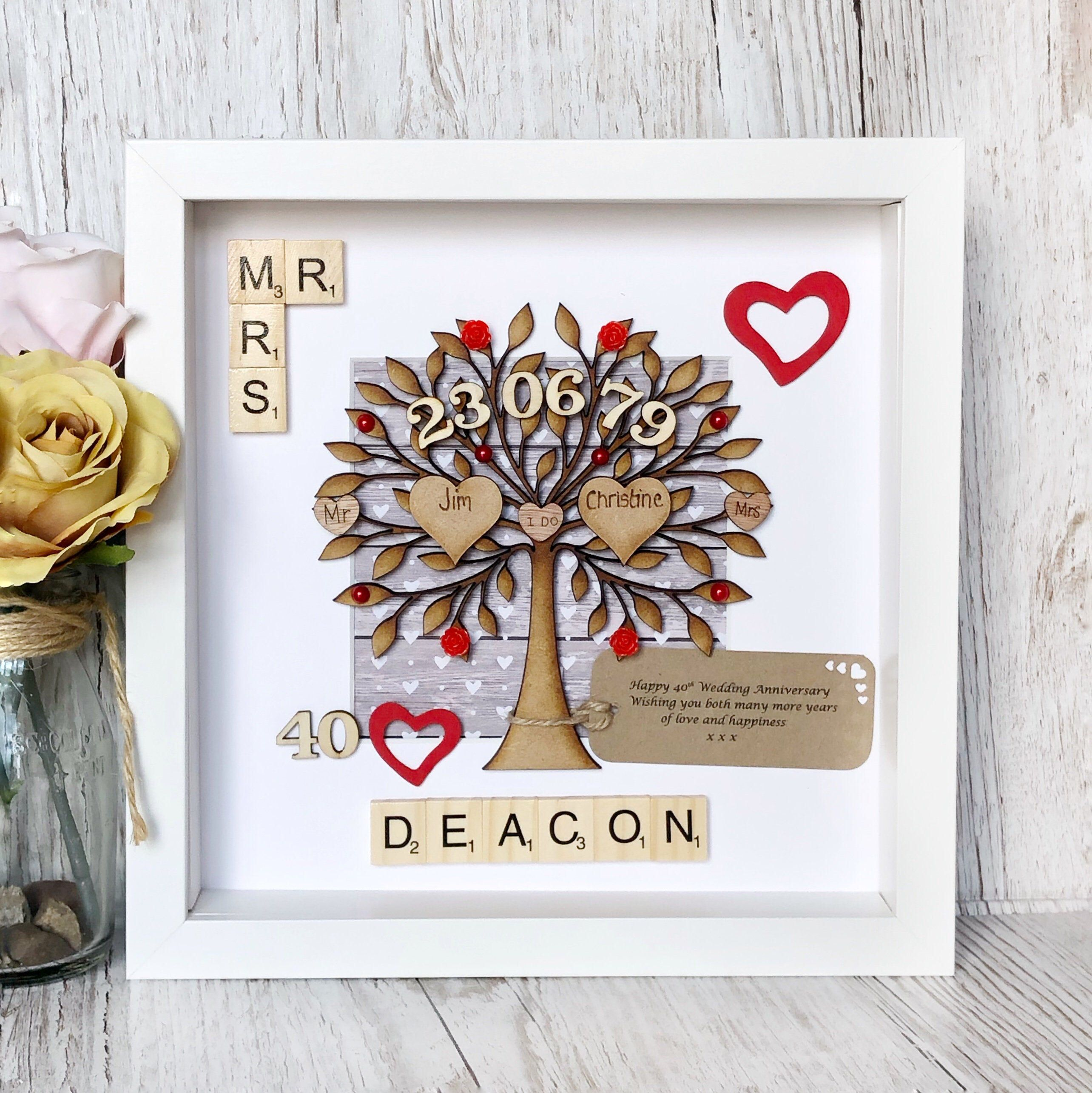 Ruby Wedding Anniversary Gift Personalised 40th Anniversary Etsy Anniversary Gifts For Parents Ruby Wedding Anniversary Ruby Anniversary Gifts