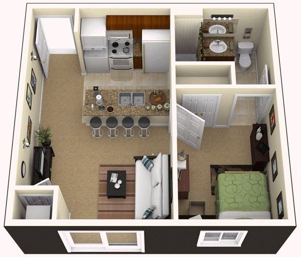 One Bedroom Apartment For The Home Pinterest Bedroom