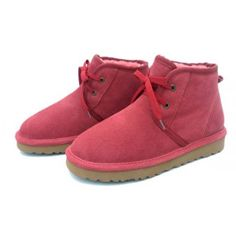 Womens Wool Lining Lace Up Watermelon Red Leather Short Snow Boots