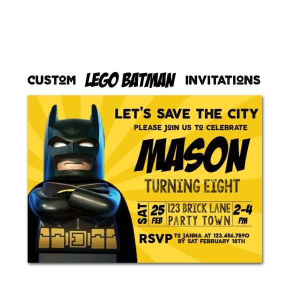 Lego Batman Birthday Invitation Movie Party Invite Cards Digital File Printable Or Printed Robin
