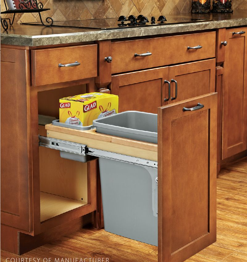 Interior Kitchen Garbage Cabinet woodworking tool news hide your trash can tools american woodworker