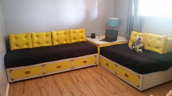 Marvelous Retro Corner Sofa / Twin Beds With Drawers Underneath.