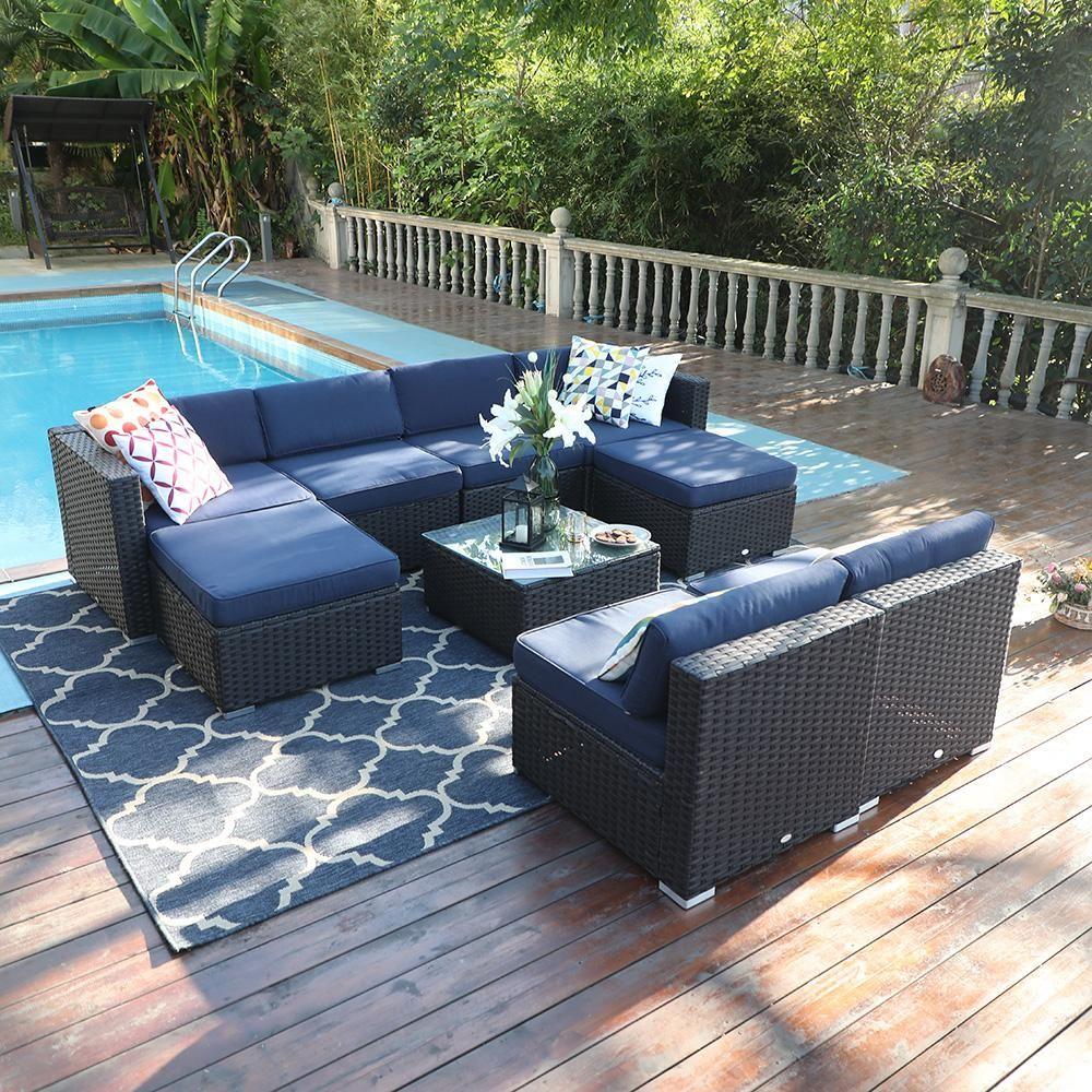 Phi Villa 9 Piece Rattan Sofa Outdoor Sectional Set In 2020 Garden Patio Furniture Wicker Patio Furniture Patio Furniture Sets