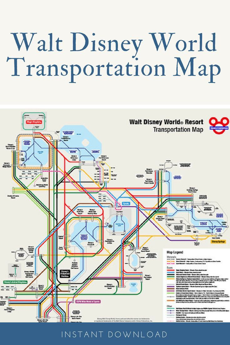 Map of the entire Walt Disney World Transportation system done in a ...