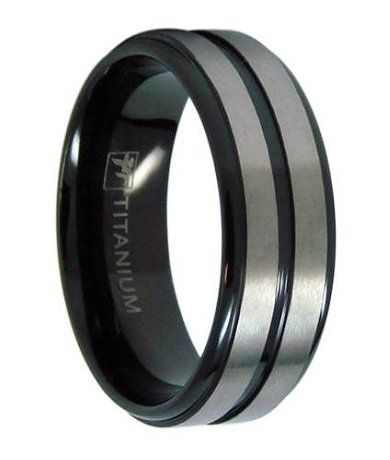 Mens Black Titanium Wedding Ring with Two Satin Bands 8mm