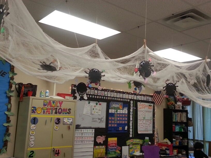 Spider Web Hanging From Ceiling With Kid Made Spiders Attached Halloween Classroom Decorations Fall Classroom Decorations Classroom Transformation