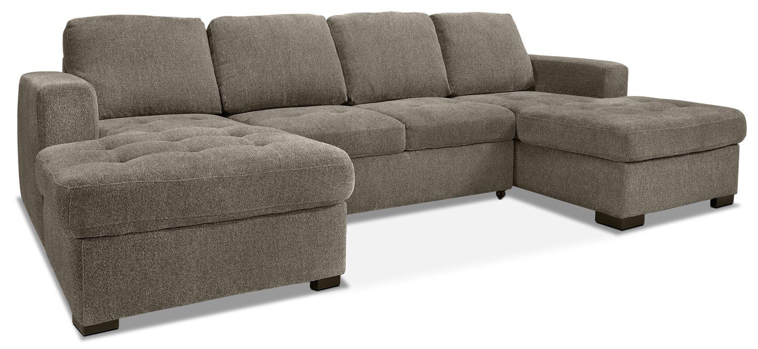 Izzy 3 Piece Chenille Sofa Bed Sectional With Two Chaises Pewter Chenille Sofa Storage Chaise Sectional