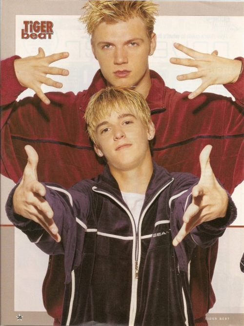 nick & aaron carter + velour jumpsuits = My whole world when I was 10. Gotta love the Carter boys.
