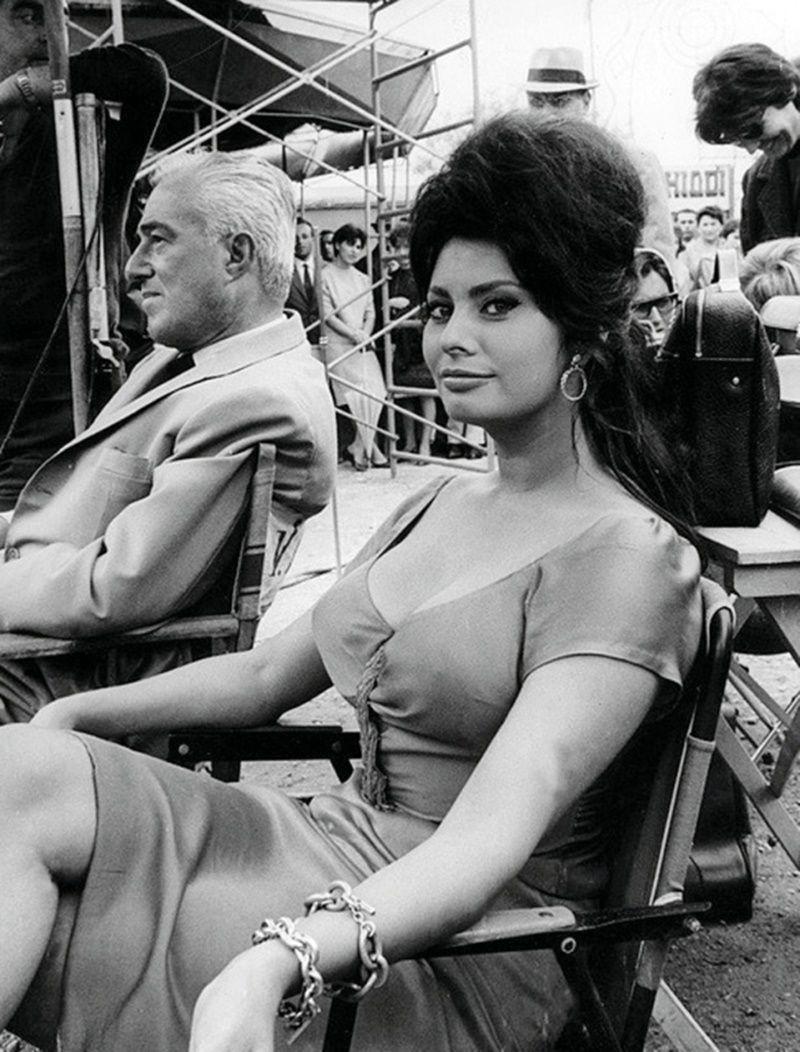 Vittorio De Sica E Sophia Loren Sul Set Boccaccio 70 1962