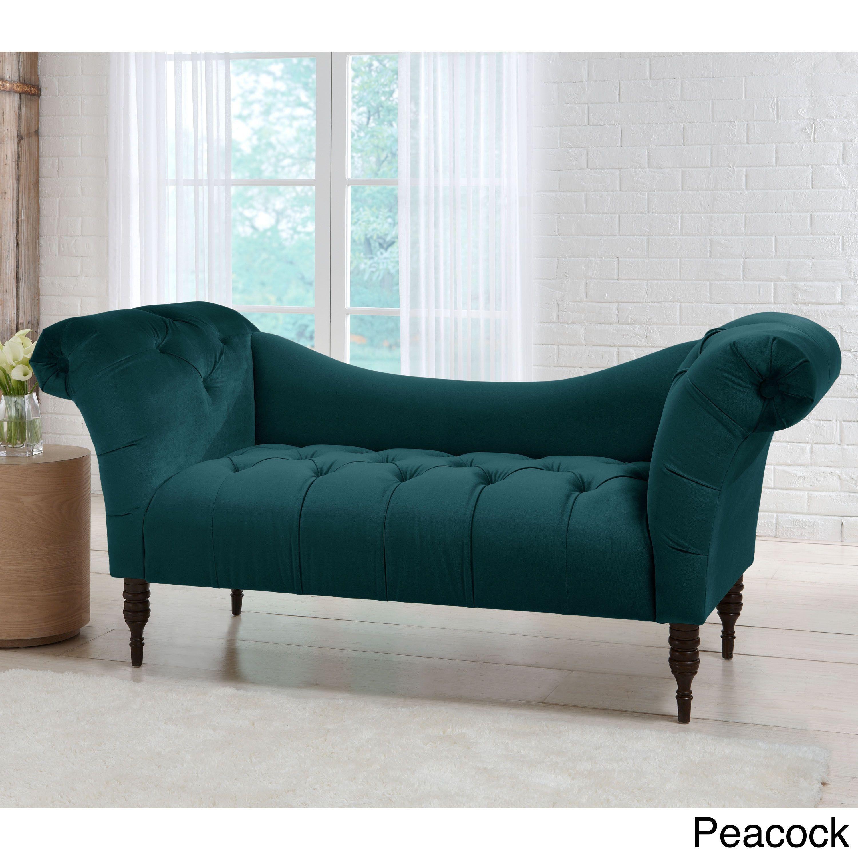 Skyline Furniture Mystere Velvet Fabric Chesterfield Loveseat (Mystere  Peacock), Blue