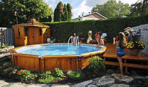 Love The Wood So Pretty In Ground Pools Pool Landscaping Above Ground Pool