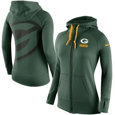Women's Green Bay Packers Nike Green Warpspeed All Time Full-Zip Performance Hoodie