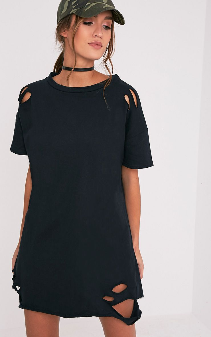 Orla Black Distressed Short Sleeve Sweater Dress | Clothes ...