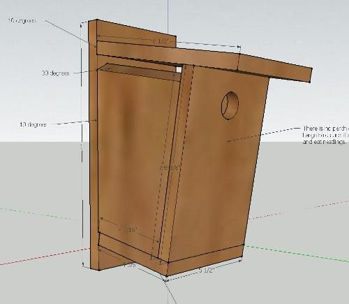 Bird house for mounting on a wall or post