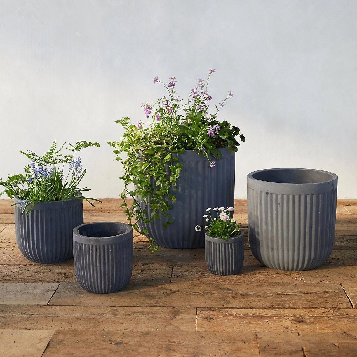 Fiber Concrete Barrel Pot Indoor Planters Large Garden Planters Garden Planters