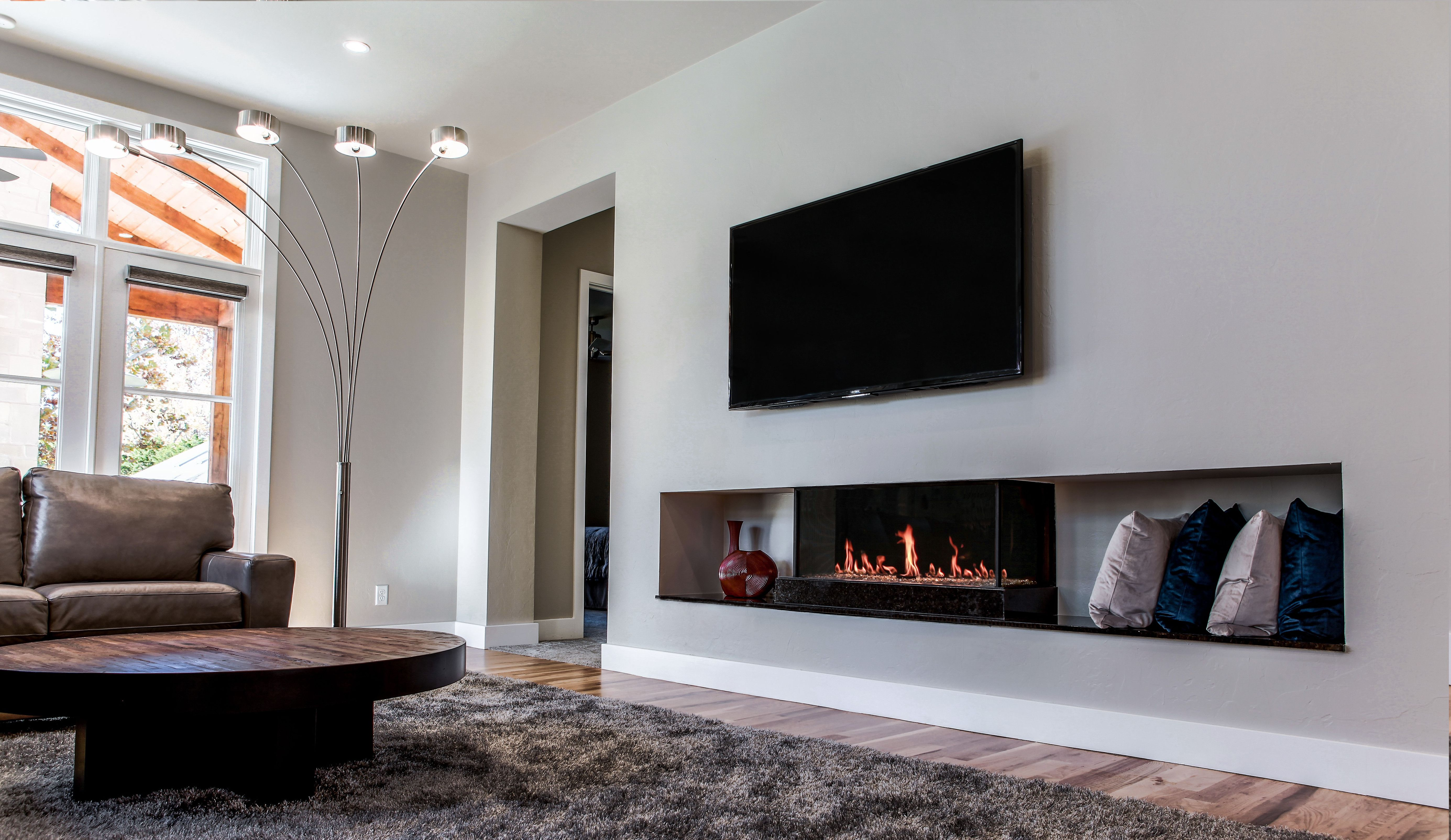 Double Corner Modern Designed Fireplaces Modern Fireplace
