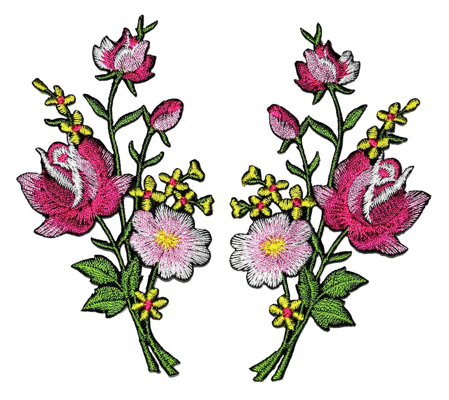 DIY 5Pcs Embroidered Applique Flower Sewing Iron On Patch Badge Art BB