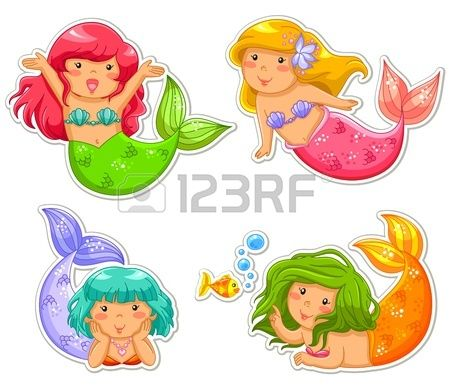 set of four little mermaids | Ausdruck | Pinterest | Kleine ...