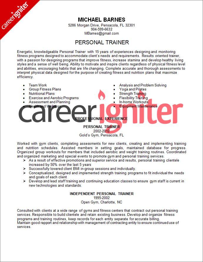 Personal Trainer Resume Sample Career Igniter Job Resume Examples Resume Examples Good Resume Examples