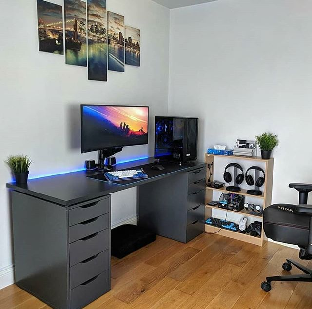 Gaming Setups On Instagram This Is One Clean Setup Tag Your Friends Who Would Like To See This Comment Your Reacti Bedroom Setup Home Office Setup Room Setup
