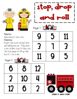 Game Board Math Stop Drop And Roll Fire Safety Week Fire