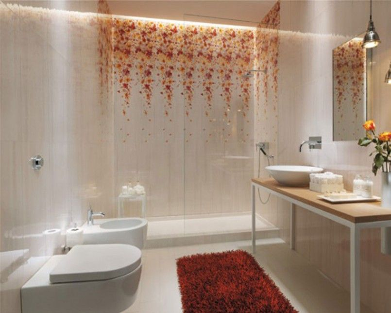 Best Bathroom Tiles Design Creative Bathroom Designs Ideas Red Rug Floral Tile Bedroom Wall X