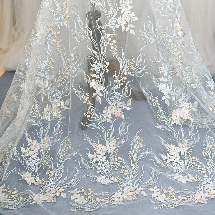 Gift Floral Flower Embroidery Veil Lace Fabric Mesh Making Wedding Bridal Dress