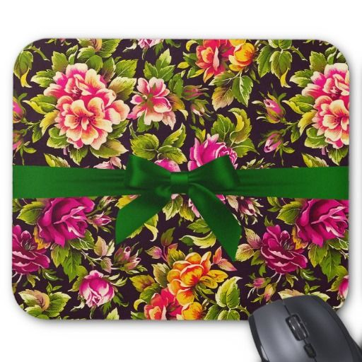 Pretty Floral Background with Green Ribbon Mousepad