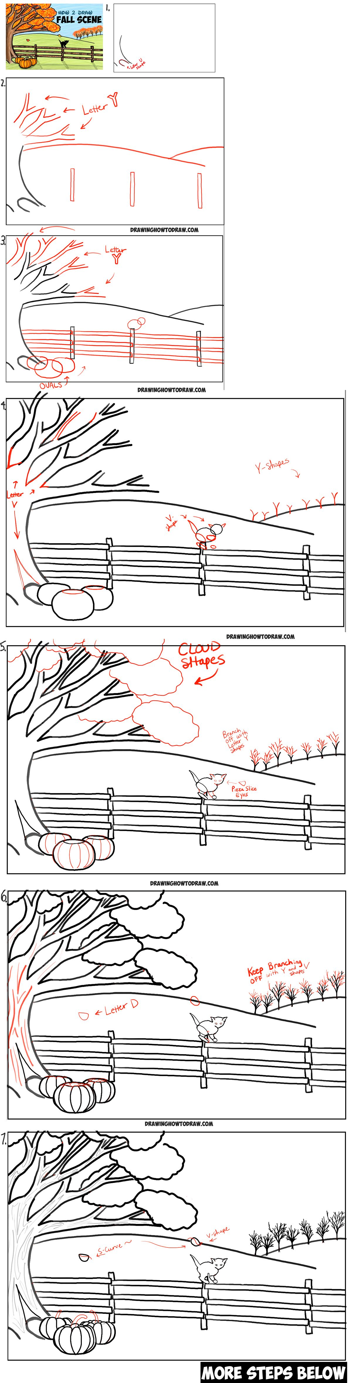 How To Draw An Autumn Fall Scene Step By Step Drawing Tutorial For Kids How To Draw Step By Step Drawing Tutorials Step By Step Drawing Drawing Tutorials For Kids