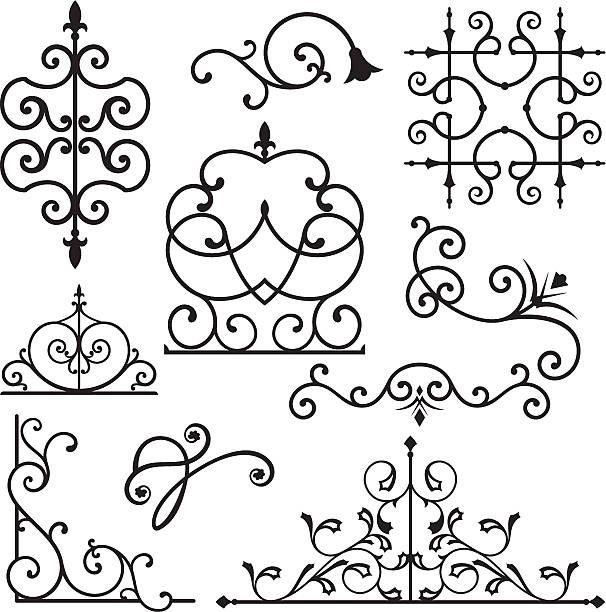 Wrought Iron Ornament Series Vector Art Illustration Wrought Iron Iron Gate Design Iron