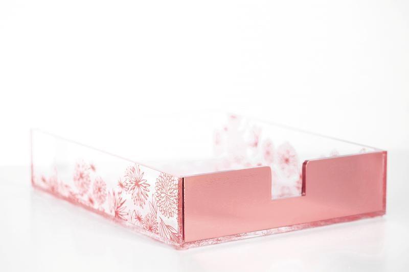 Rose Gold Floral Paper Tray Desk Organizer Set Paper Tray Gold Desk