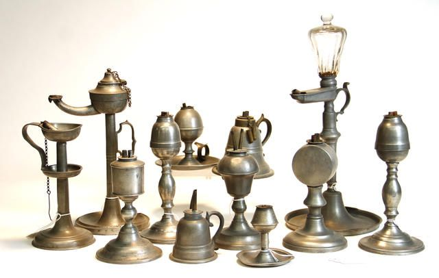 Twelve American and Continental oil lamps 19th century