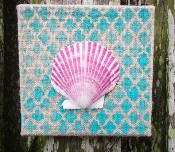 Sea Shell Art / Hand Painted Burlap Canvas / Beach By