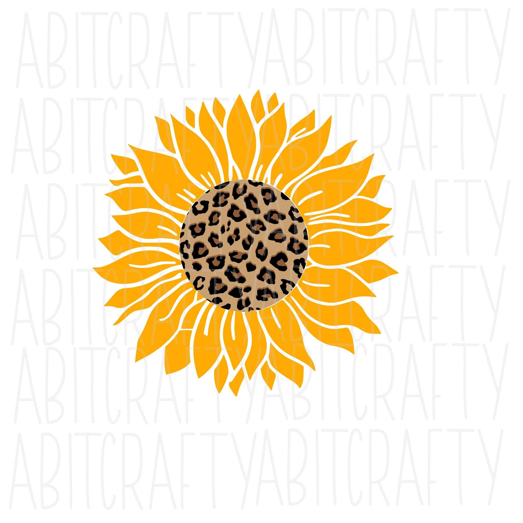 Leopard Sunflower Svg Png Sublimation Digital Download Vector Art Cricut Silhouette Vector Art Stencil Patterns Templates Sunflower Drawing