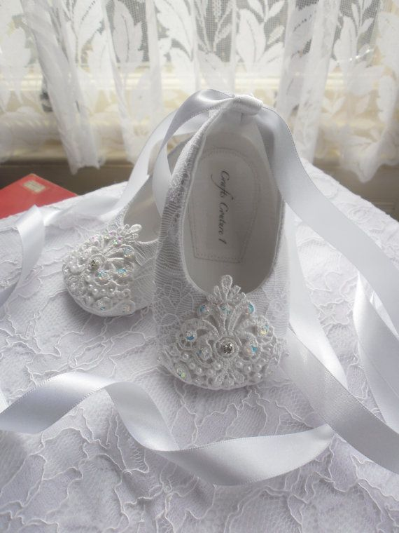 Off white lace christening wedding flower girl or special occasion off white lace christening wedding flower girl or special occasion baby girl shoes mightylinksfo