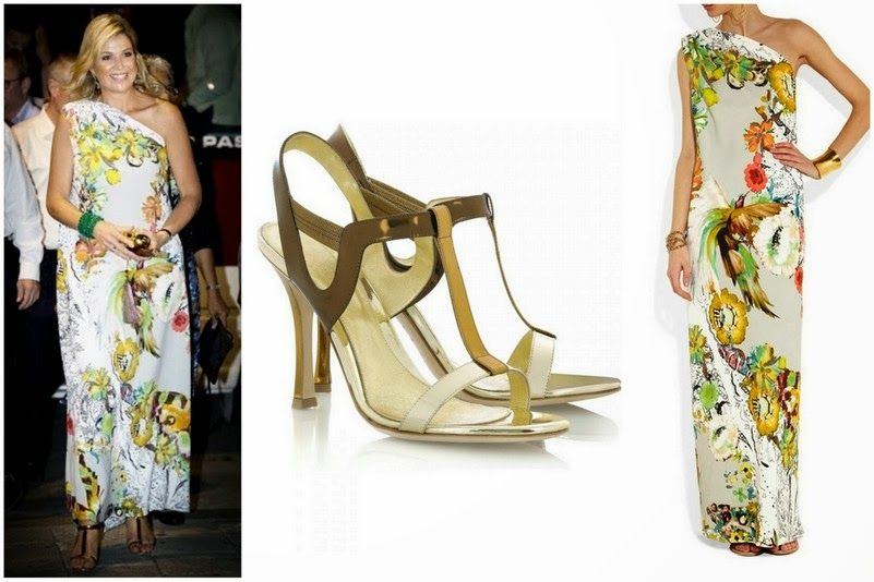 Queen Maxima's Sergio Rossi Shoes and Etro Dress