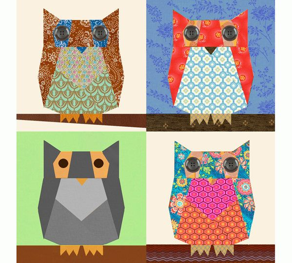 Owl paper pieced quilt block pattern PDF. (Inspiration for my ... : owl quilts patterns - Adamdwight.com