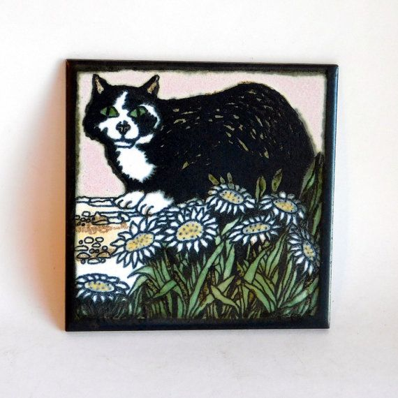 Vintage Hand-Painted New Zealand Decorative Tile - Black and White ...