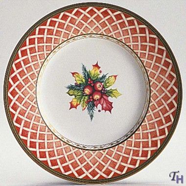 Fitz and Floyd Winter Holiday - The Rose Wreath Salad Plate Who