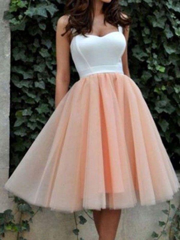 6adee612d492 A-Line/Princess Sleeveless Sweetheart Tulle Short/Mini Dresses ...