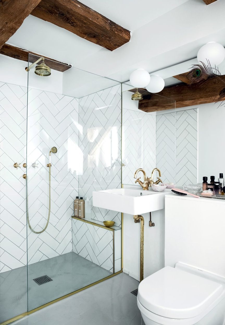 Elegant Bathroom With Wall Tiles Beautiful Brass Faucets And Wood