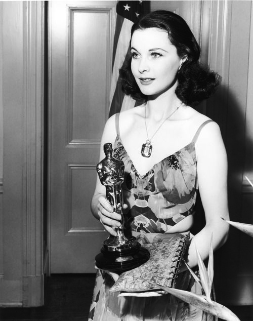 Vivien Leigh after winning her fist Academy Award for Gone With the Wind