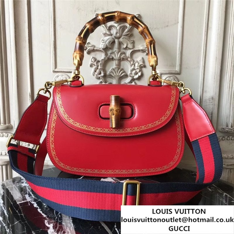 00d77354b02 Gucci Bamboo Classic Frame Print Top Handle Satchel 27cm Bag 495880  Calfskin Leather 30cm Fall Winter 2017 Collection Red