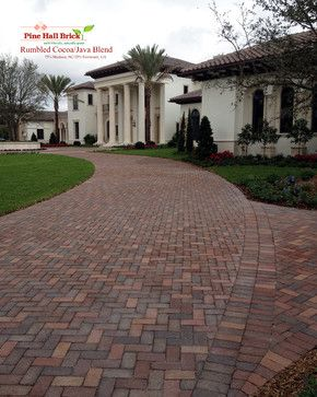 Rumbled Cocoa Clay Pavers By Pine Hall Brick The Brown Range Of Colors In Cocoa Is Perfectly Offset Brick Paver Driveway House Designs Exterior Brick Driveway