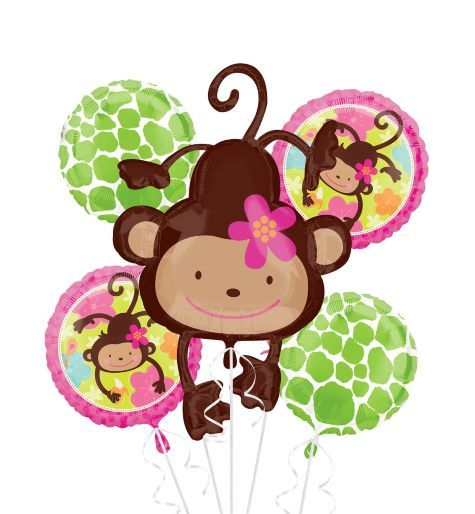 Monkey love balloon bouquet 5pc party city baby shower pinterest monkey discount party - Monkey balloons for baby shower ...