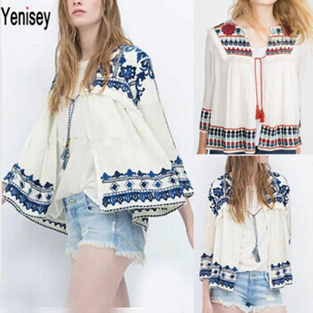 1a1e0a2788153 Aliexpress.com  Comprar Sexy mujeres Retro Vintage étnico chaqueta moda  mujeres bordado azul y