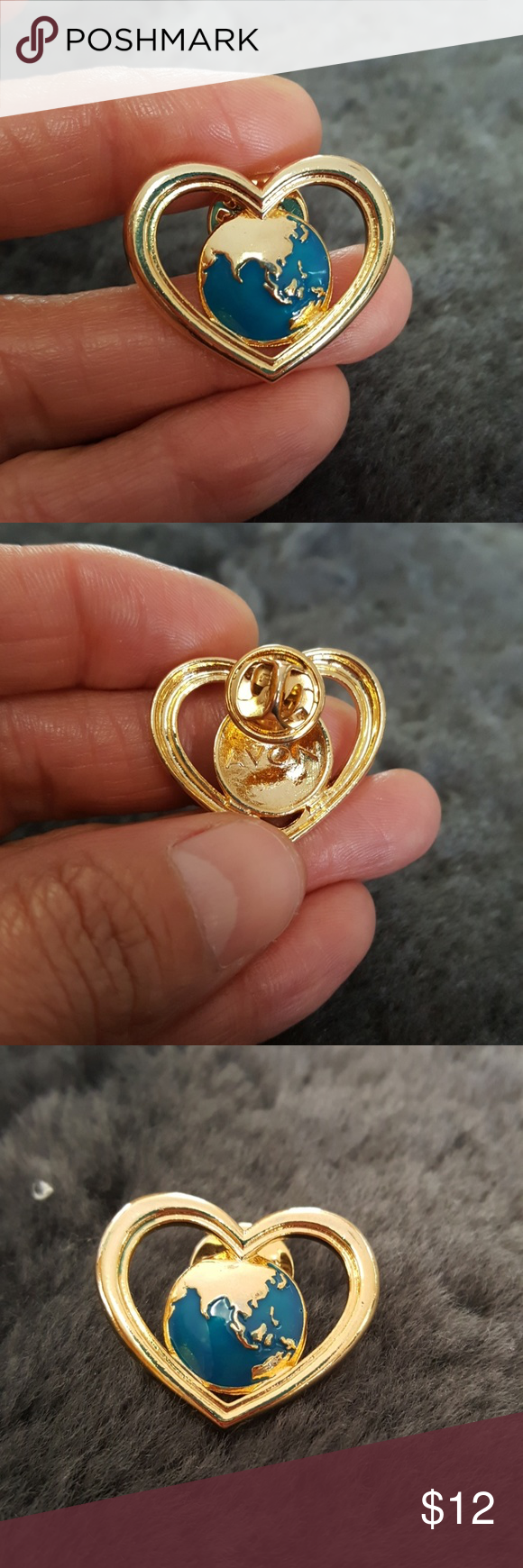 Vintage Avon Collectible Love Around The World Vintage Avon Collectible Love Around The World pin brooch. Enamel scatter signed Avon. Global Earth Heart. Avon Jewelry Brooches