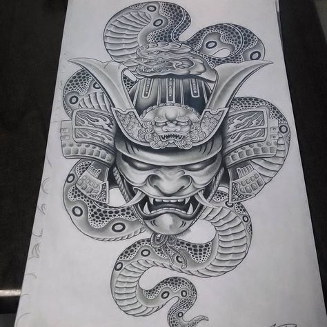 Samuraimasktattoo Japanesesnake Samuraitattoo Samuraihelmet