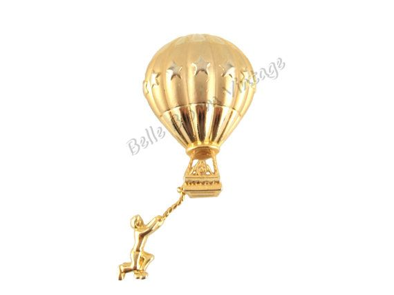 Finest Vintage Hot Air Balloon Gold Tone Pin, Funny Cute Women's Jewelry  VN53