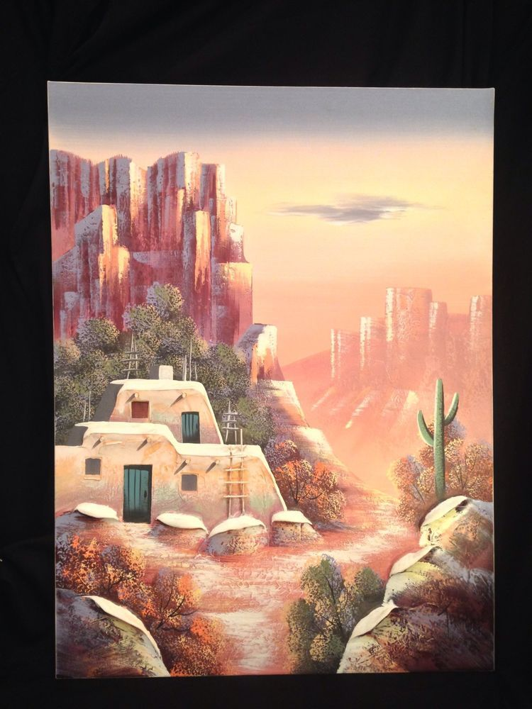 Large Painting 3d Modern Art Southwest Native American Desert Landscape Teresa